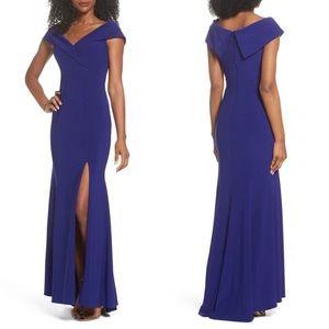 NWOT Xscape Blue Off Shoulder Maxi Gown Size 4